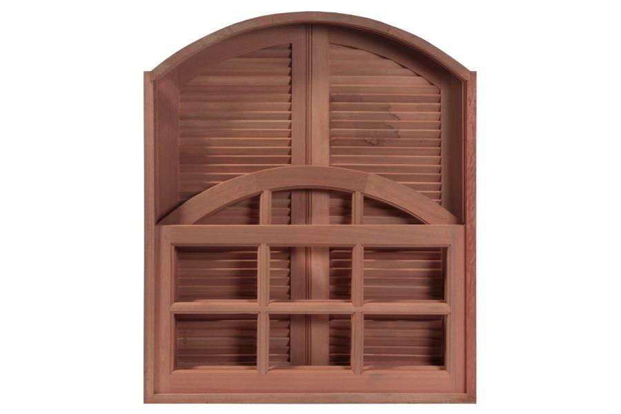 Janela de Madeira Guilhotina Palheta Francesa Arco Padrão Cedro