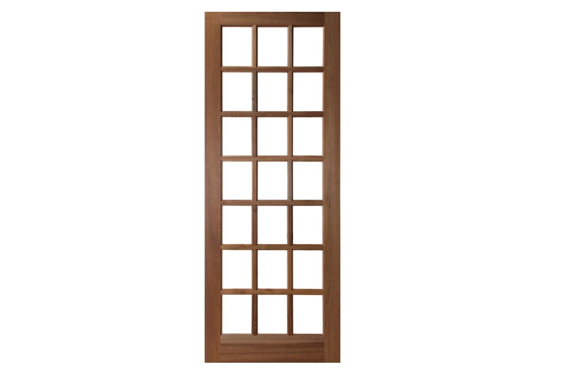 Porta de Madeira Maciça 21 Vidros sem Almofada Reto Interno Padrão Imbuia