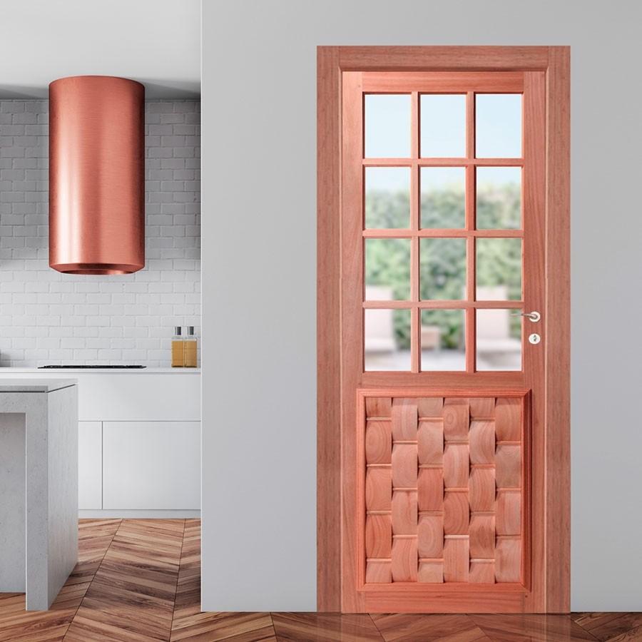 Porta de Madeira Maciça Almofada Eros para Vidro Quadriculado Padrão Cedro-210 x 72