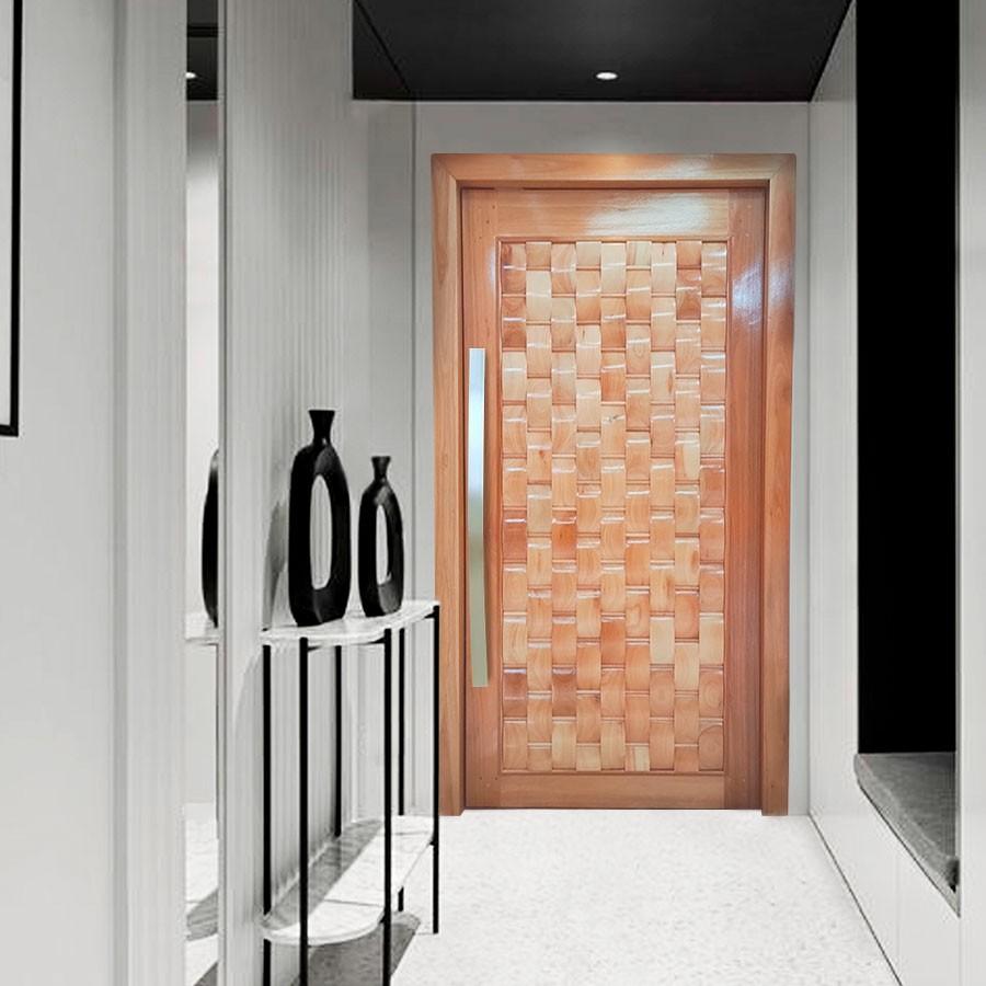 Porta Pivotante de Madeira Maciça Eros 2,15 x 1,17 cx 14cm Padrão Cedro