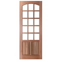 Porta de Madeira Maciça 2 Almofadas 15 Vidros Arco Interno Padrão Cedro