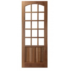 Porta de Madeira Maciça 2 Almofadas 15 Vidros Arco Interno Padrão Imbuia