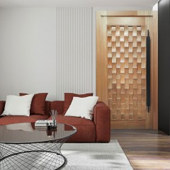 Porta Pivotante de Madeira Maciça Sore 2,15 x 1,17 cx 14cm Padrão Cedro