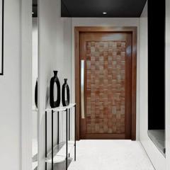 Porta Pivotante de Madeira Maciça Eros 2,15 x 1,17 cx 14cm Padrão Imbuia