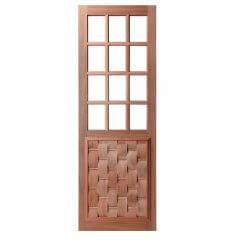 Porta de Madeira Maciça Almofada Eros para Vidro Quadriculado Padrão Cedro