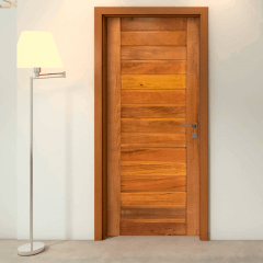 Porta De Madeira Maciça Ripada Padrão Cedro-210 x 82