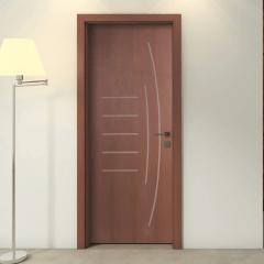Porta Frisada de Madeira Sarrafeada Gigi Padrão Cedro -210 x 72