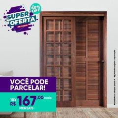 Porta Veneziana de Correr Reta de Madeira 3 Folhas Palheta Francesa