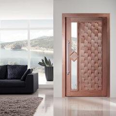Porta Pivotante de Madeira Maciça Eros e Visor Losango
