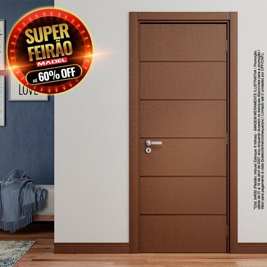 Porta Frisada Pronta de Madeira Sarrafeada Innovazione Padrão Imbuia-210 x 72