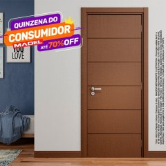 Porta Pronta Frisada Bella Montada P/Imbuia-210 x 62-Lateral Direito-P/imbuia