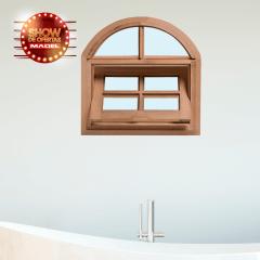 Vitrô Basculante de Madeira Arco Padrão Imbuia-60 x 60 x 10