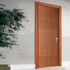 Porta Frisada de Madeira Sarrafeada Belíssima V Padrão Imbuia -210 x 72 x 3.5