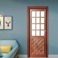 Porta de Madeira Maciça Almofada Eros para Vidro Quadriculado