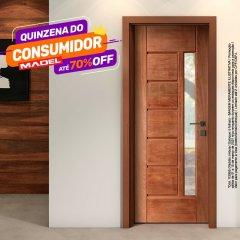 Porta de Madeira Maciça BBB com Visor Padrão Imbuia -210 x 72