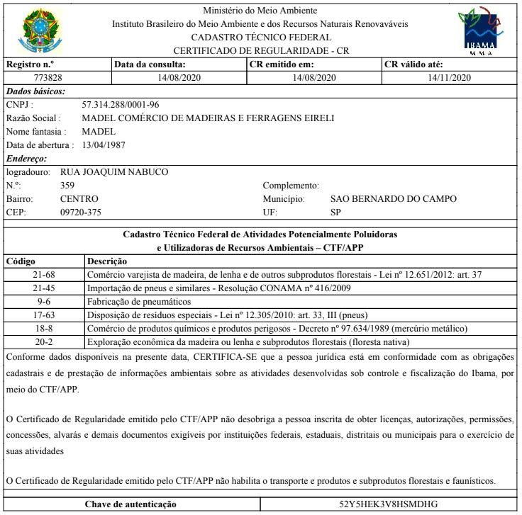 Certificado de Responsabilidade Ambiental IBAMA