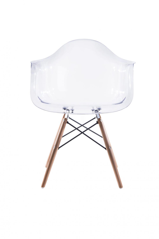 Cadeira Eiffel Com Braço Base Madeira Aj-1121 Transparente