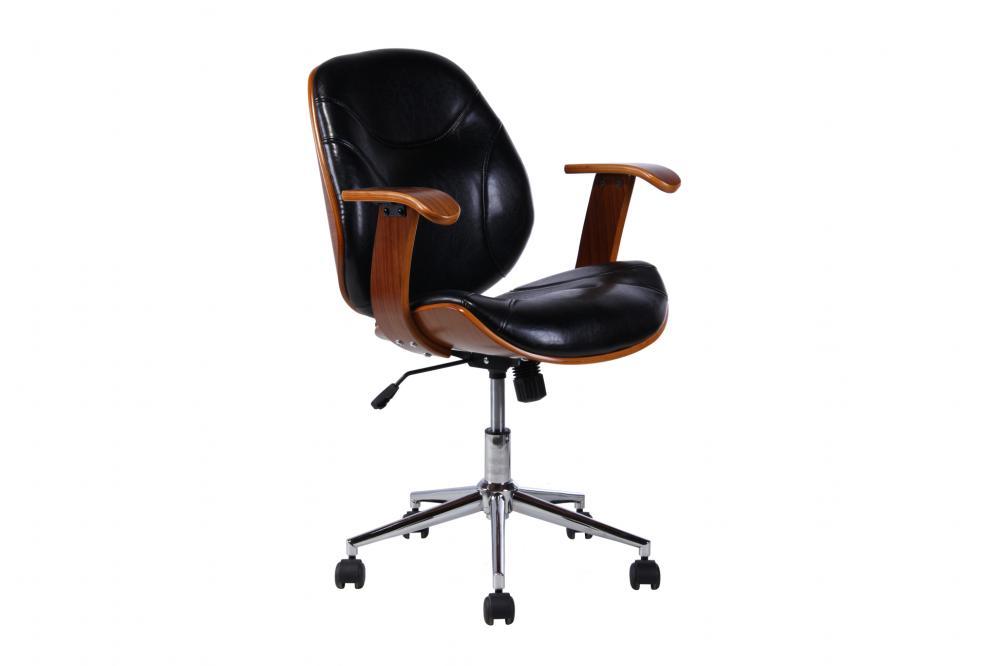 Cadeira Escritório Florenze Com Braço Madeira Com Revestimento Couro 2235 5 Preta