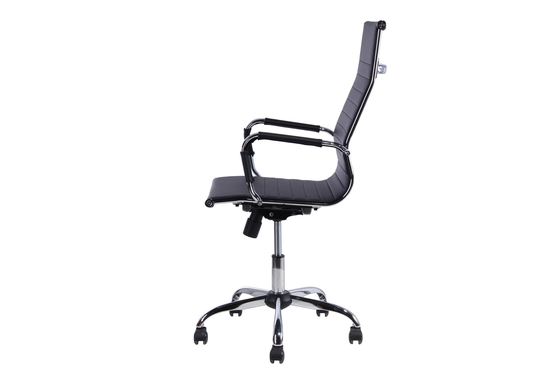 Cadeira Escritório Stripes Presidente Preta Base Cromada