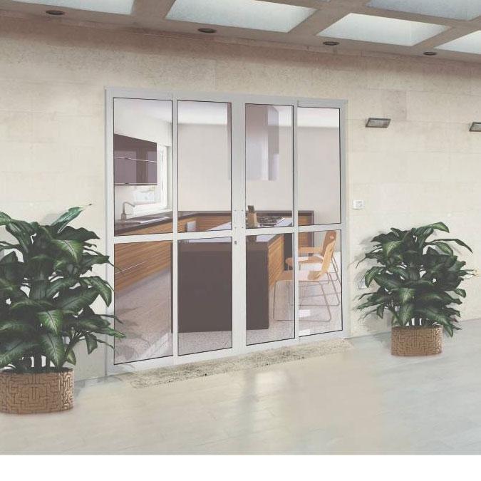 Porta de correr central de alum nio 4 folhas com travessa for Bancos de aluminio para jardin