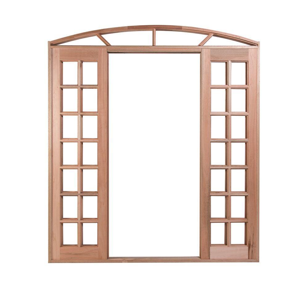 Porta de Correr Arco Quadriculada de Madeira 4 Folhas
