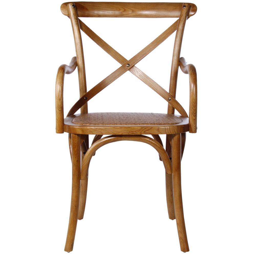 Cadeira Cross com Assento de Palha Estofado e Braço