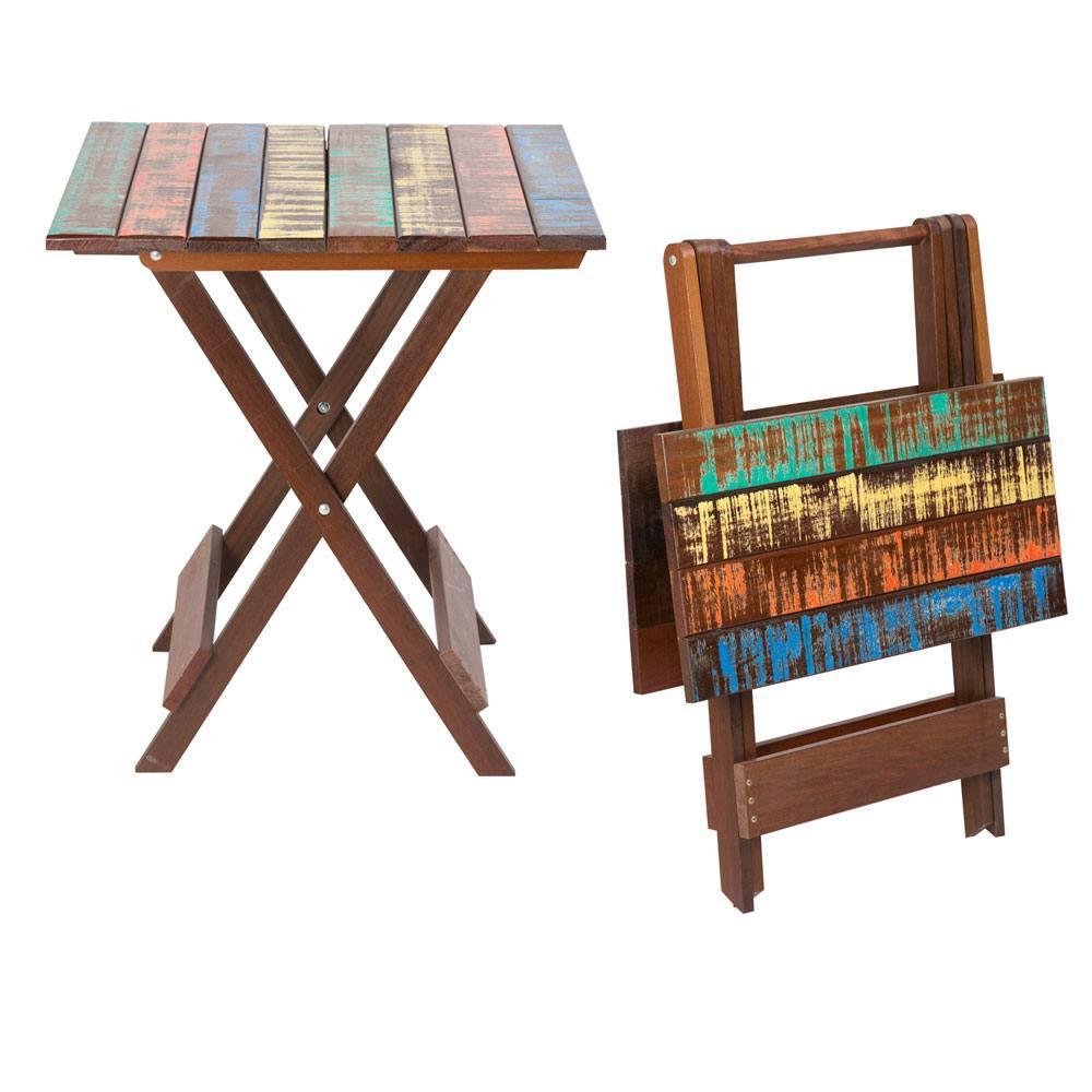 Conjunto Mesa com 4 Cadeiras Dobráveis em Madeira Demolição