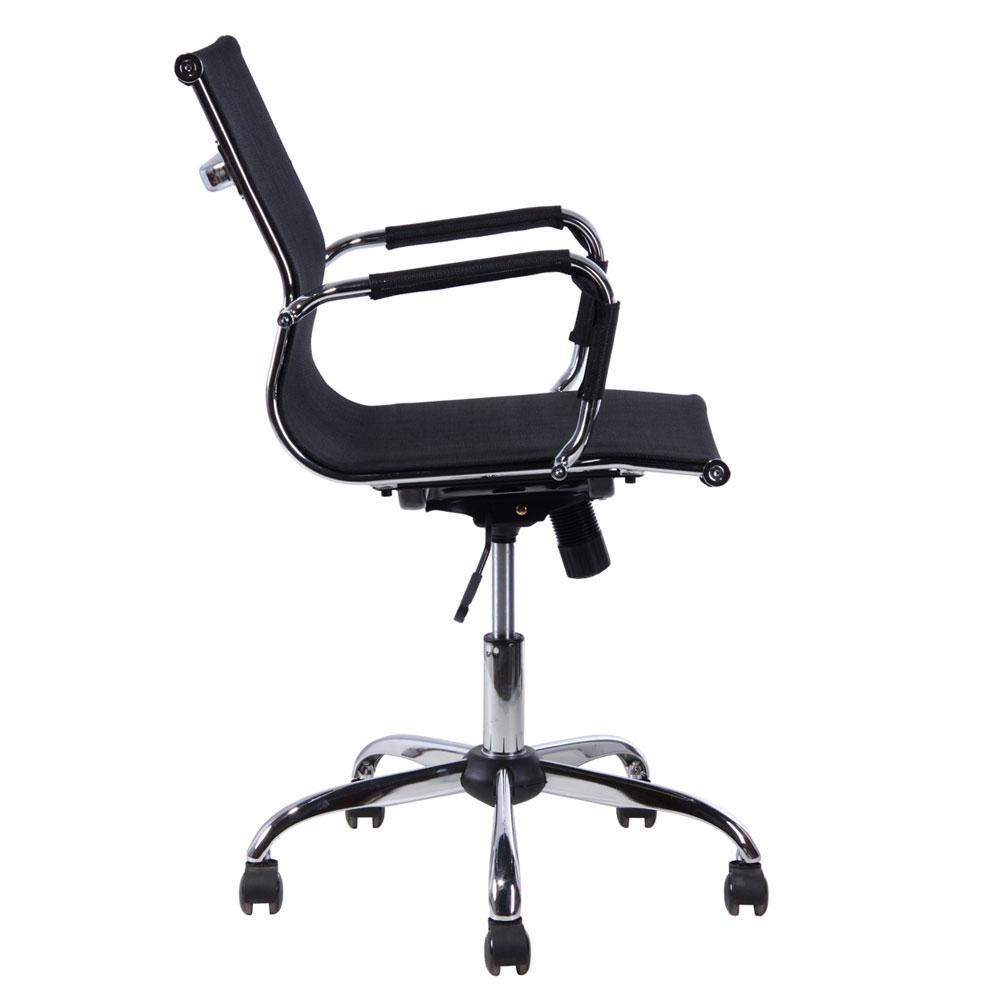 Cadeira Escritório Mesh Diretor Preta Base Cromada