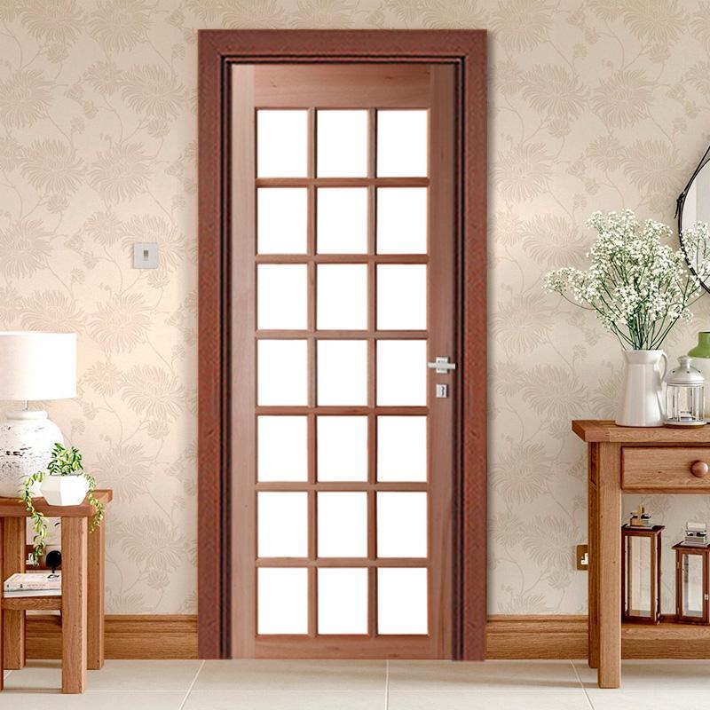 Porta de Madeira Maciça 21 Vidros sem Almofada Reto Interno