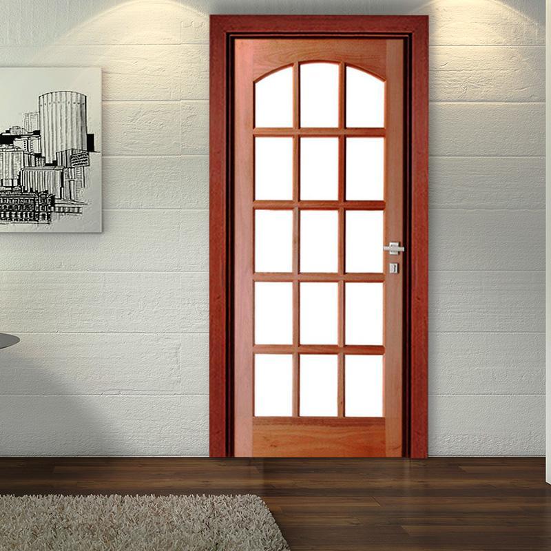Porta de Madeira Maciça 15 Vidros Arco Interno