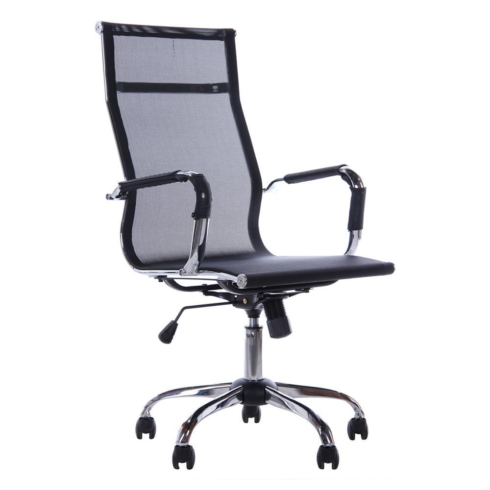 Cadeira Escritório Mesh Presidente Preta Base Cromada